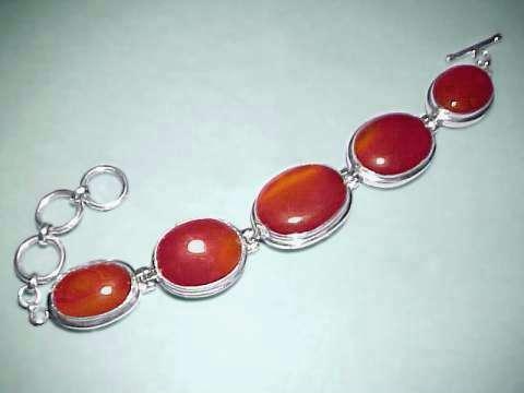 Carnelian Sterling and Carnelian Bracelet Bracelet