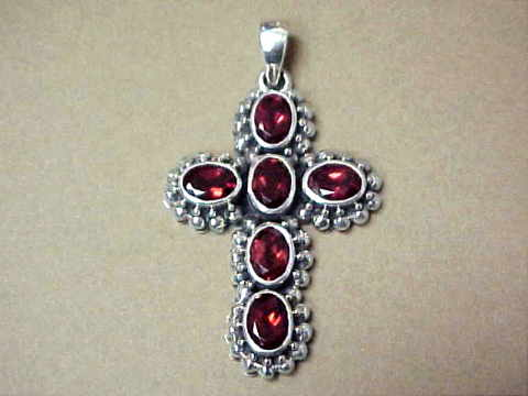 Large Image of almj108x_garnet-cross-jewelry