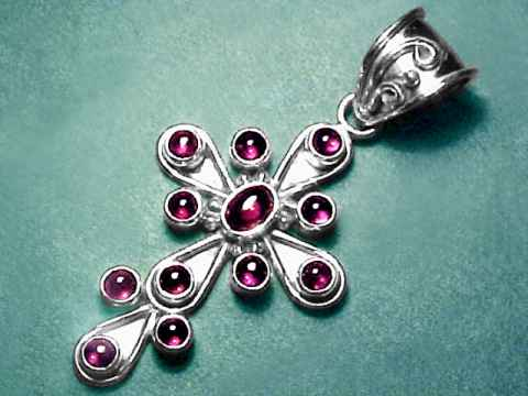 Large Image of almj147_garnet-cross-jewelry