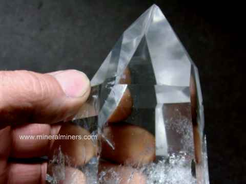 Quartz Crystal: polished clear crystal and milky crystals of natural rock crystal quartz