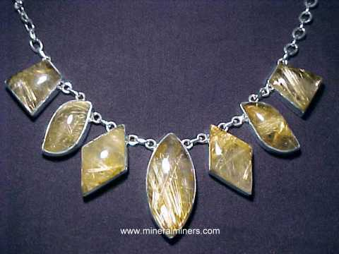 Gold Rutile in Quartz Necklace