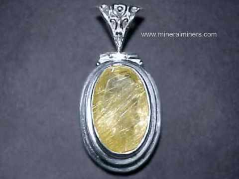 Gold Rutile in Quartz Pendant