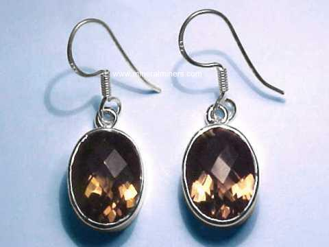 Smoky Quartz Crystal Earrings: natural smoky quartz earrings