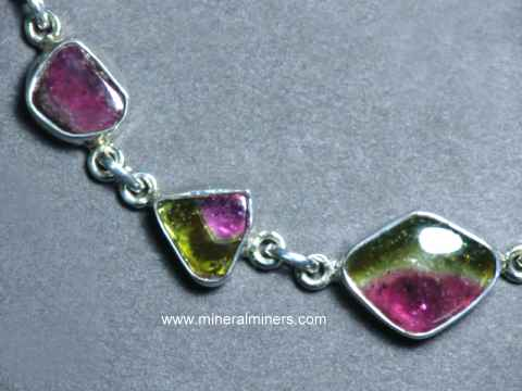 Tourmaline Bracelets: pink and green tourmaline bracelet