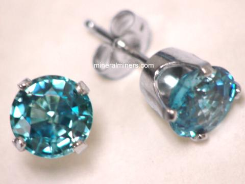 Zircon Earrings: Blue Zircon Earrings